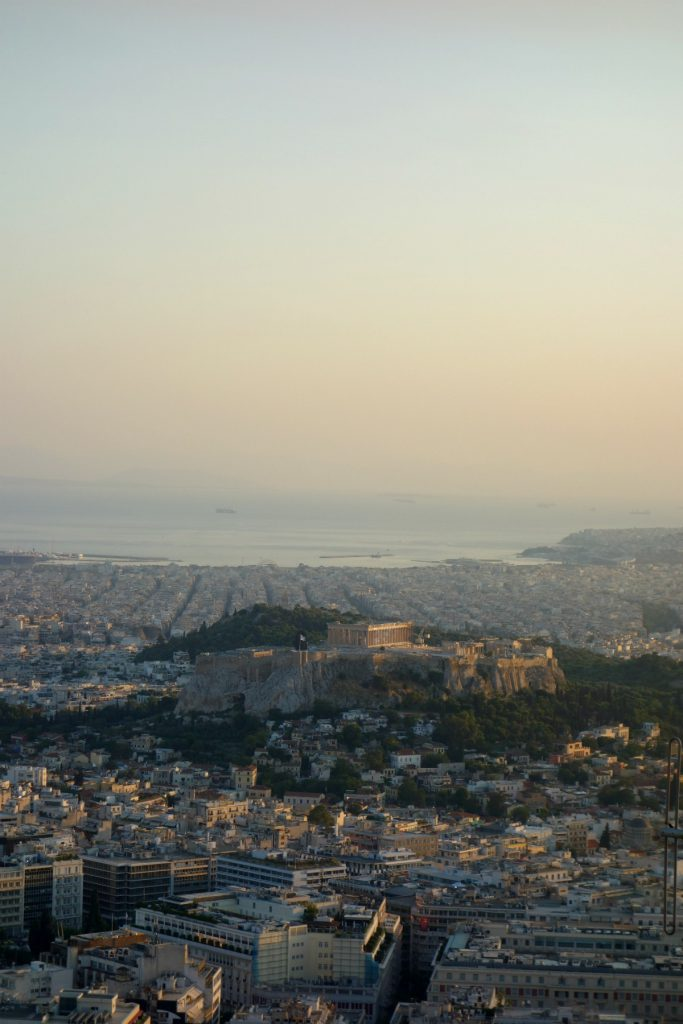 Solnedgang over Athen