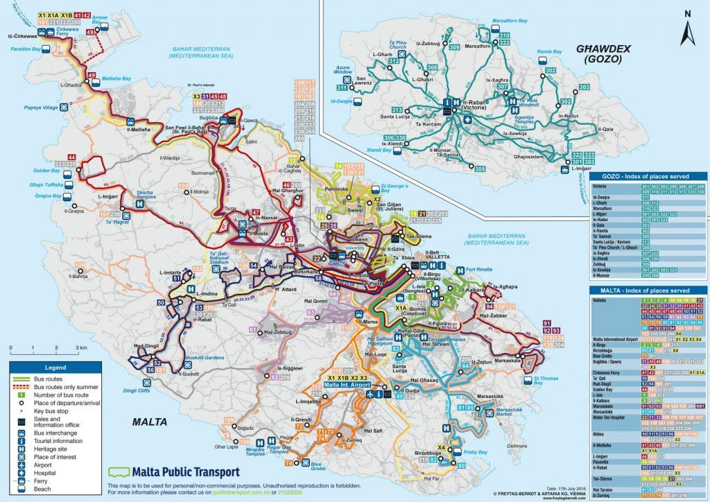 Malta og Gozo busruter